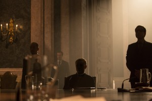 James Bond (Daniel Craig) meets Oberhauser (Christoph Waltz, center) in a scene from the SPECTRE teaser.