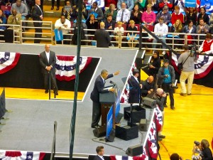 President Obama rallies crowd of Cincinnati, Ohio supporters.