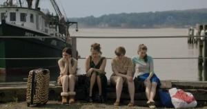 Scene from the 'Beach House' episode of 'Girls' featuring (l-r) Zosia Mamet, Jemima Kirke, Lena Dunham and Allison Williams
